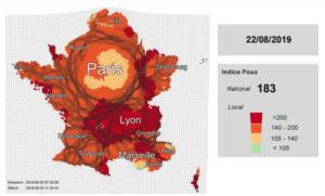 Carte de France, prolifération de poux août 2019